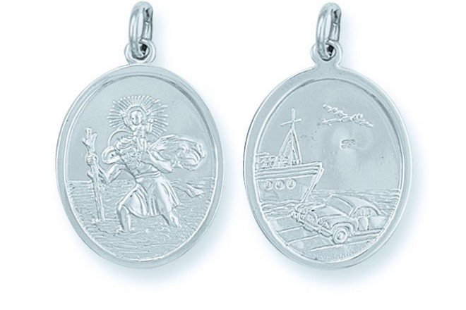 Selling: Silver Double Sided Oval St Christopher Pendant