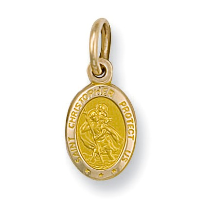 Selling: Y/G Oval Saint Christopher Protect Us Pendant