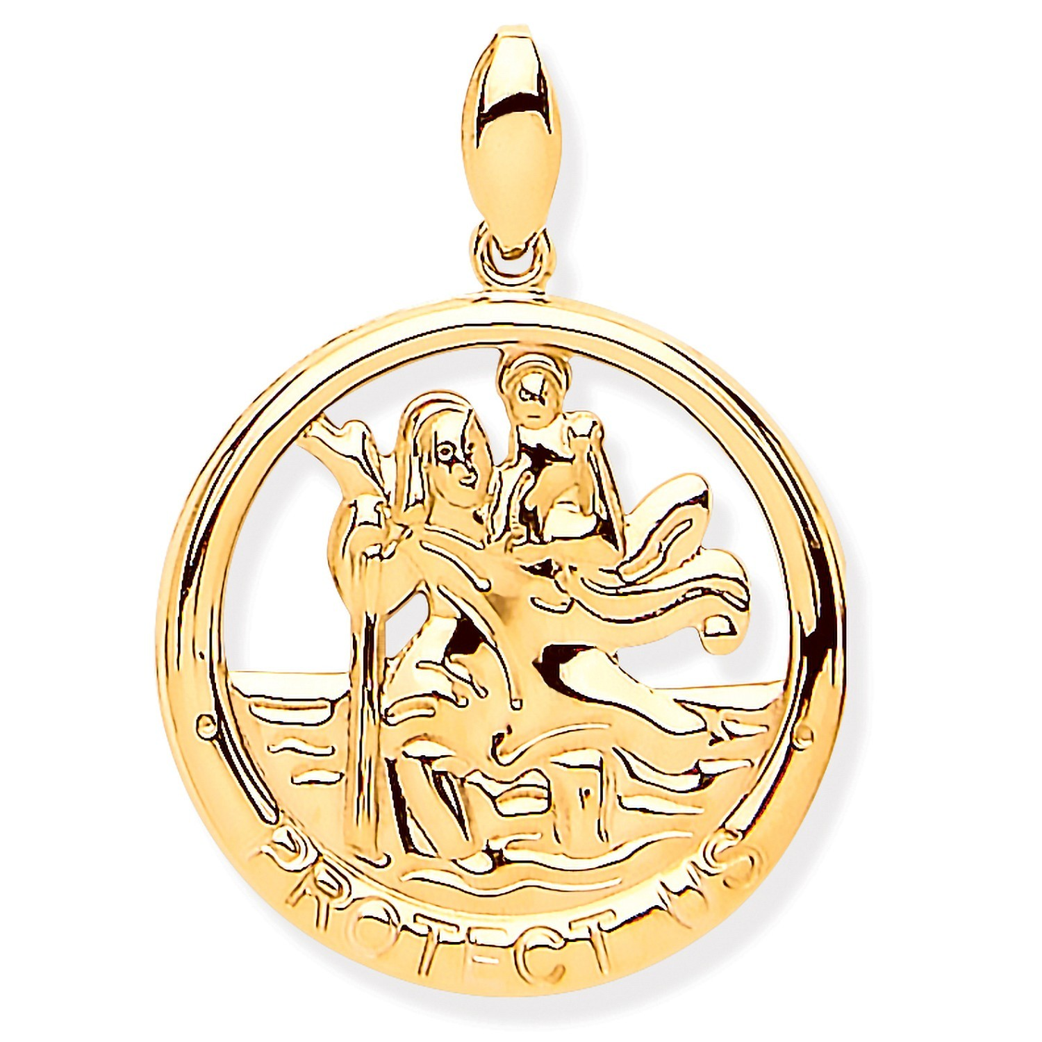 Y/G St Christopher Round Cut Out Protect Us Medal