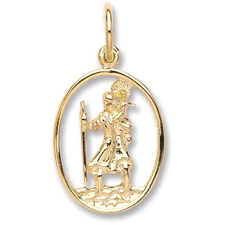 Selling: Y/G Oval Cut Out St Christopher Pendant