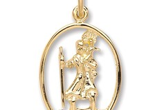 Y/G Oval Cut Out St Christopher Pendant
