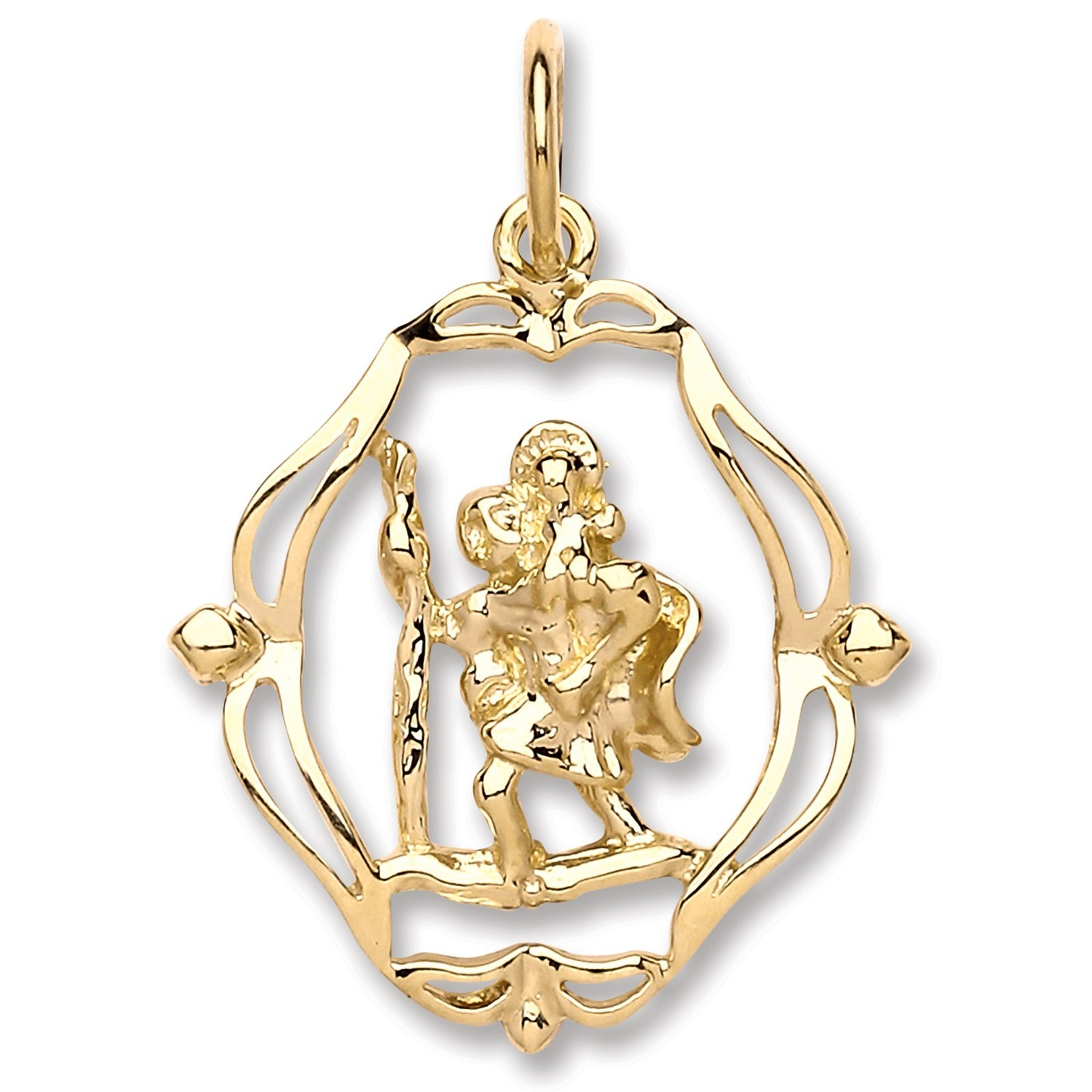 Y/G Oval Fancy Cut Out St Christopher Pendant