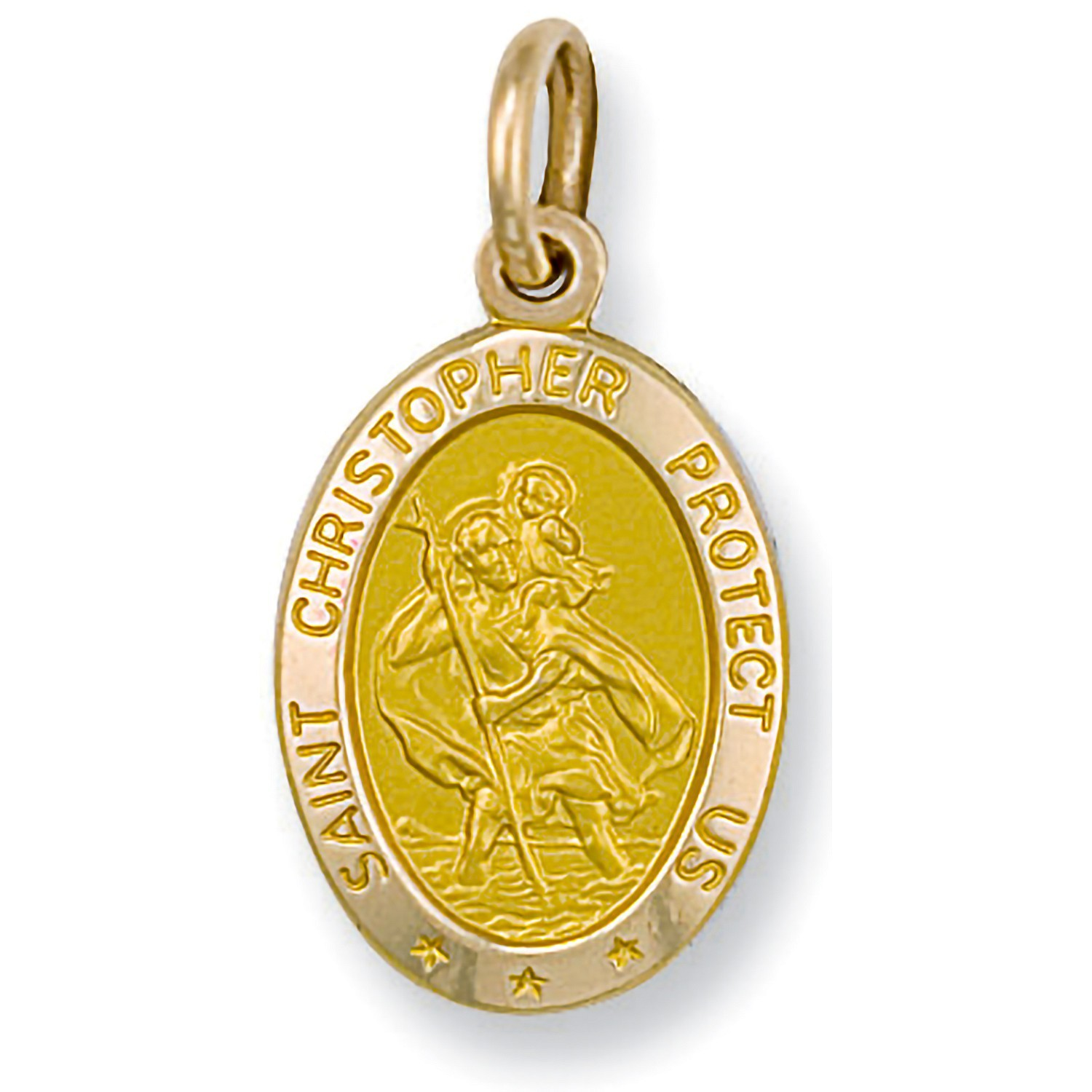 Y/G Oval Saint Christopher Protect Us Pendant