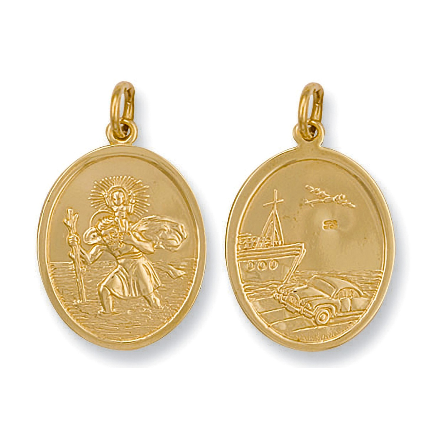 Y/G Double Sided Oval Shaped St Christopher Pendant