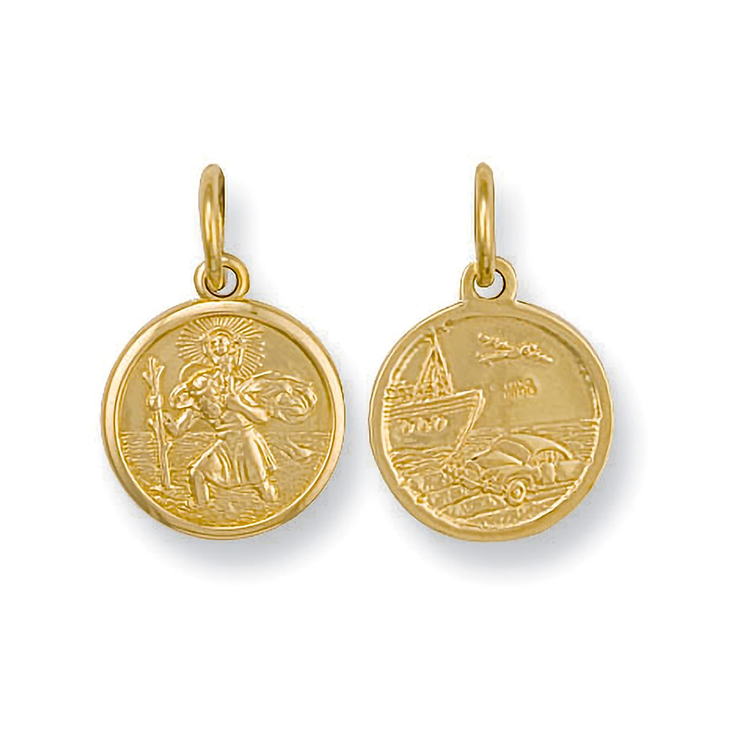 Y/G Double Sided St Christopher Pendant