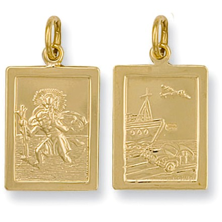 Selling: Y/G Rectangular Shaped St Christopher Pendant