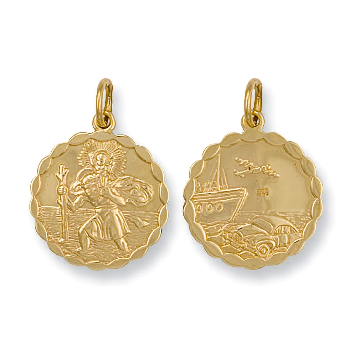 Y/G Double Sided Fancy St Christopher Pendant