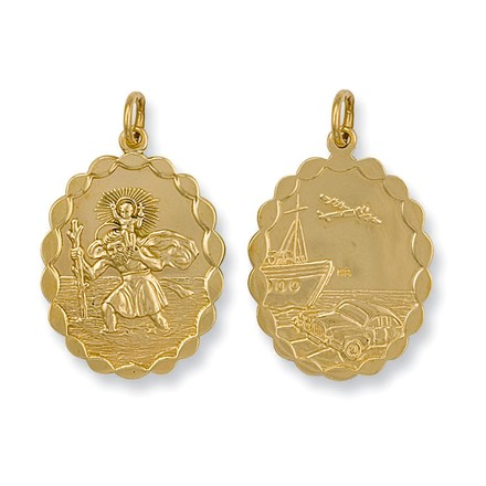 Selling: Y/G Double Sided Oval Shaped St Christopher Pendant
