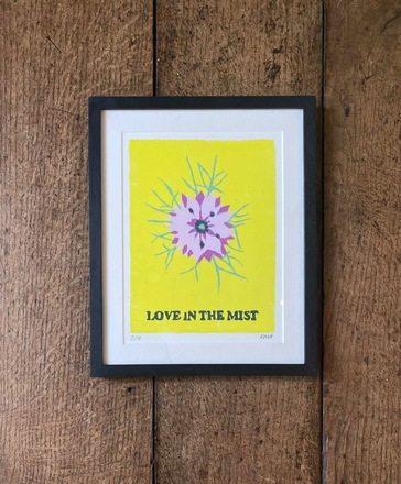Selling: 'LOVE IN THE MIST' lino print