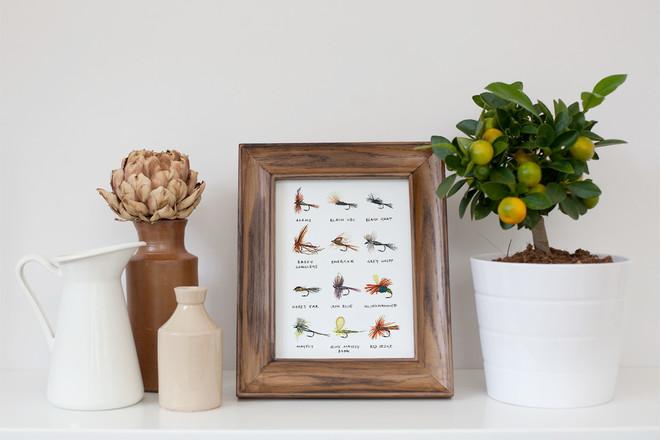 Selling: 'Fishing Flies' Watercolour Print