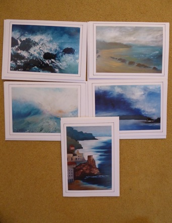 Selling: Set of 5 artist greeting cards seascapes
