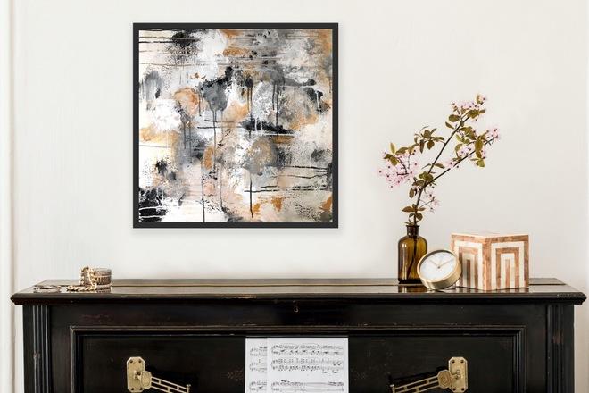 Selling: Auriferous Haze | Original Abstract Acrylic Painting Neutral
