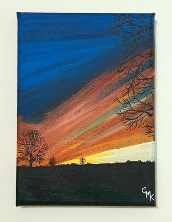 Selling: Sunset over the Downs, Bristol | Original Acrylic Painting