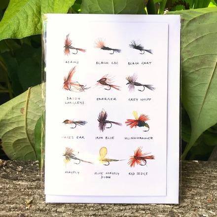 Selling: 'Fishing Flies' Greetings Card