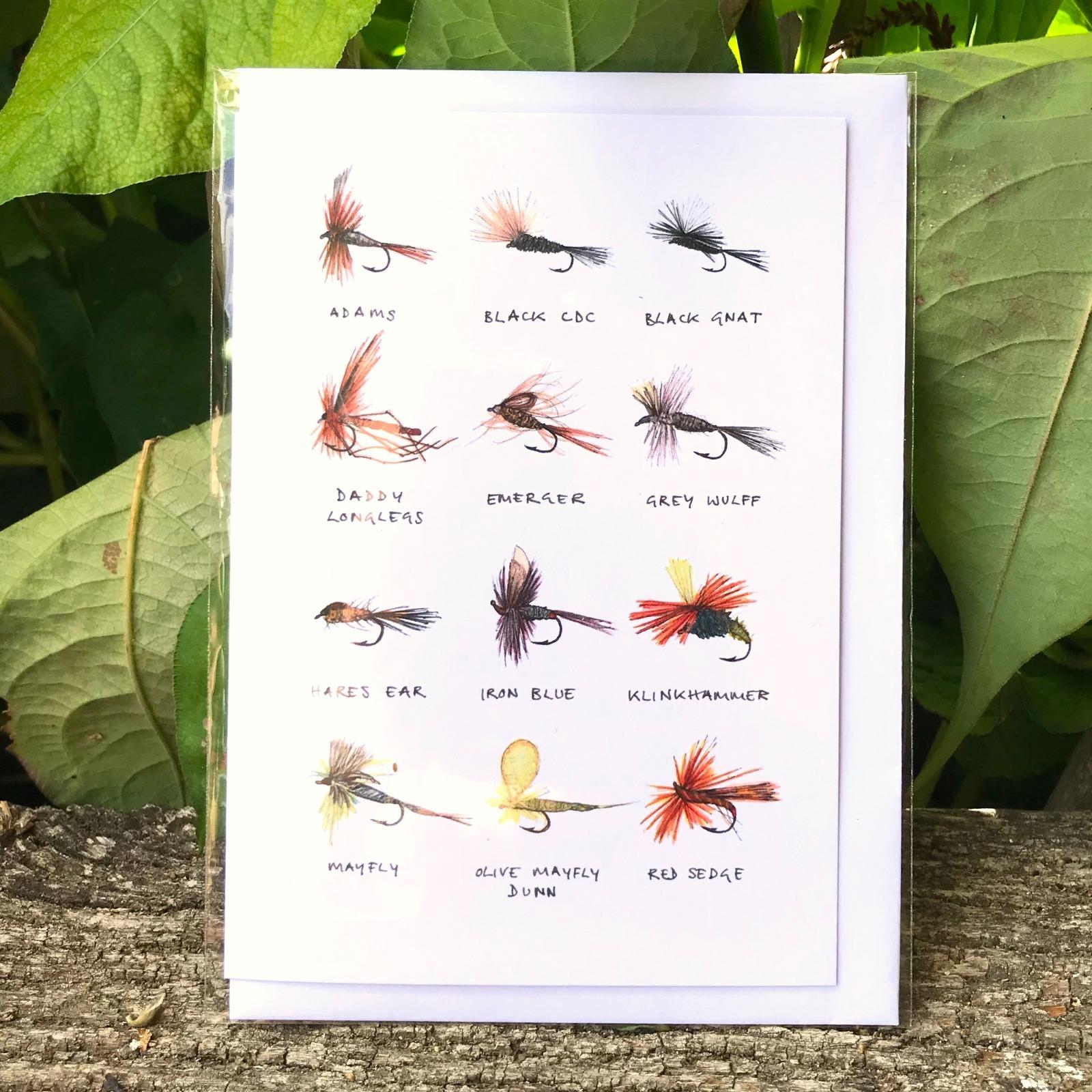 'Fishing Flies' Greetings Card