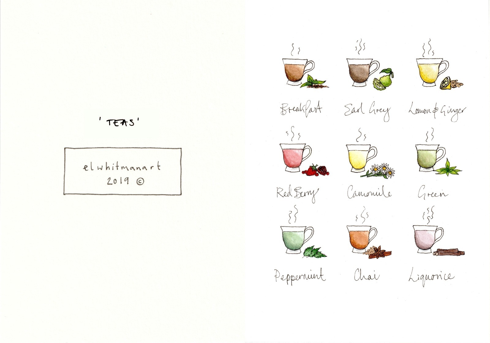'Cups of Tea' Greetings Card