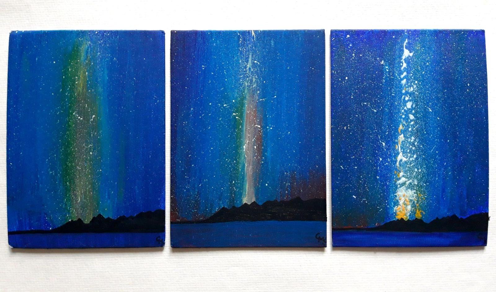 Triplet Painting, Space Stars Skies | Original Acrylic on Canvas