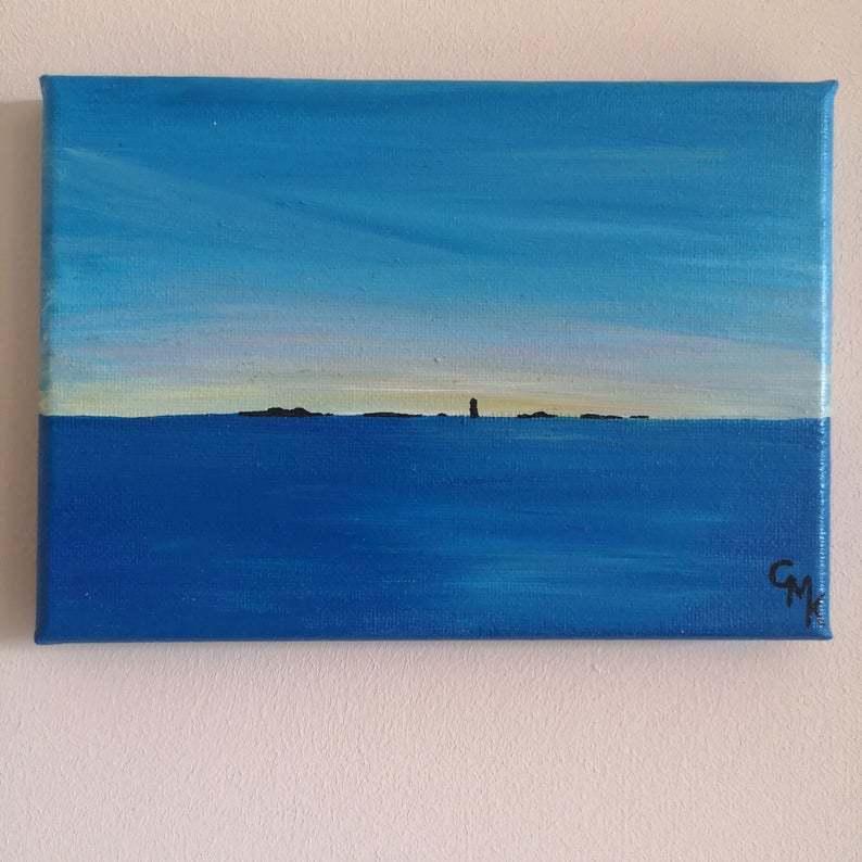 Bishop Rock Lighthouse   Original Acrylic Painting