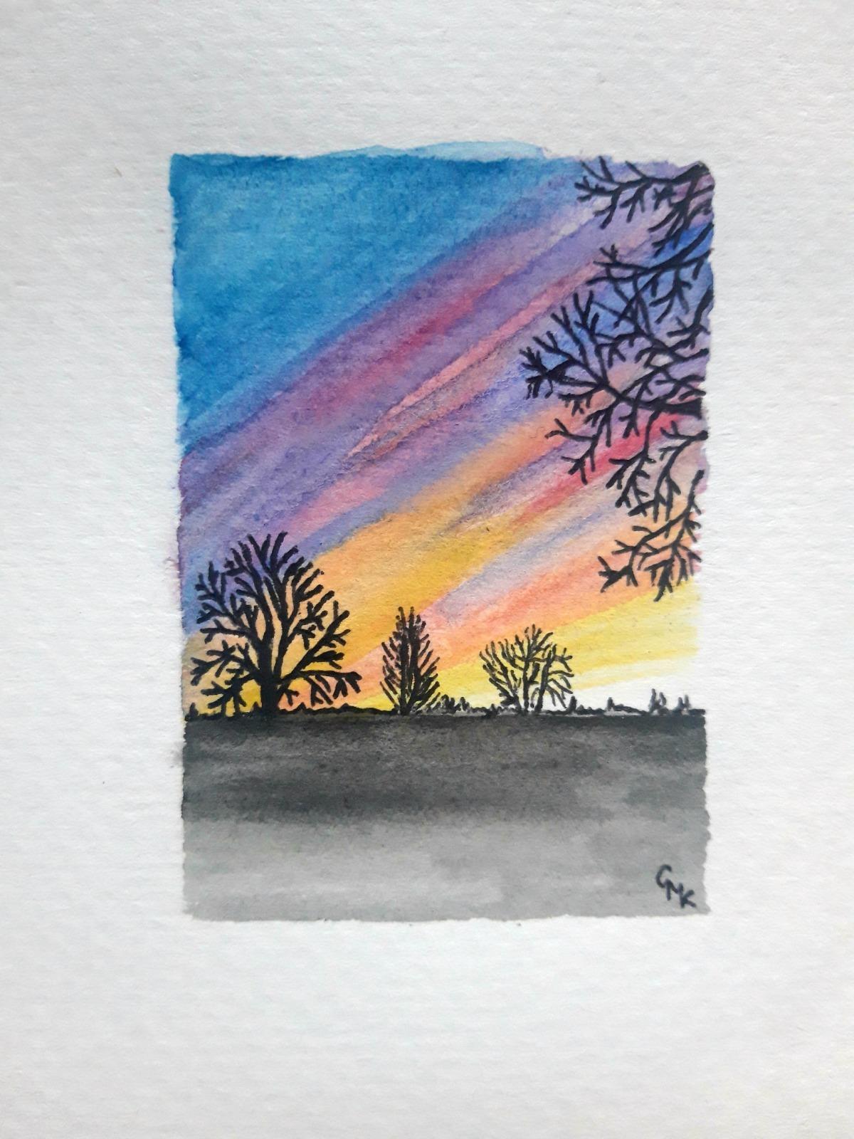 The Downs Sunset, Bristol | Original Watercolour Painting