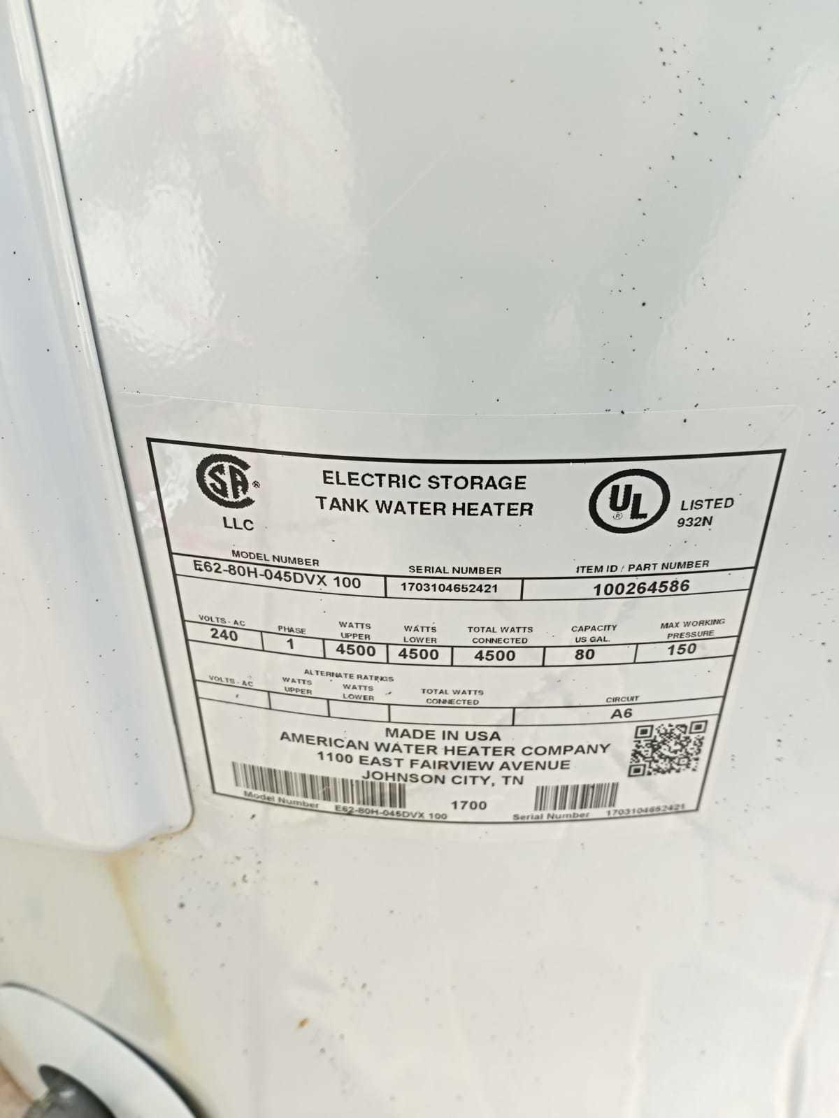 80gal Water Heater