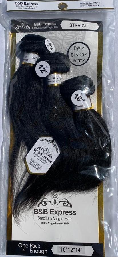 "Brazilian Virgin Hair 10"" 12"" 14"" Straight"