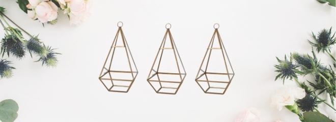 Nightly rental: Gold Hanging Terrariums