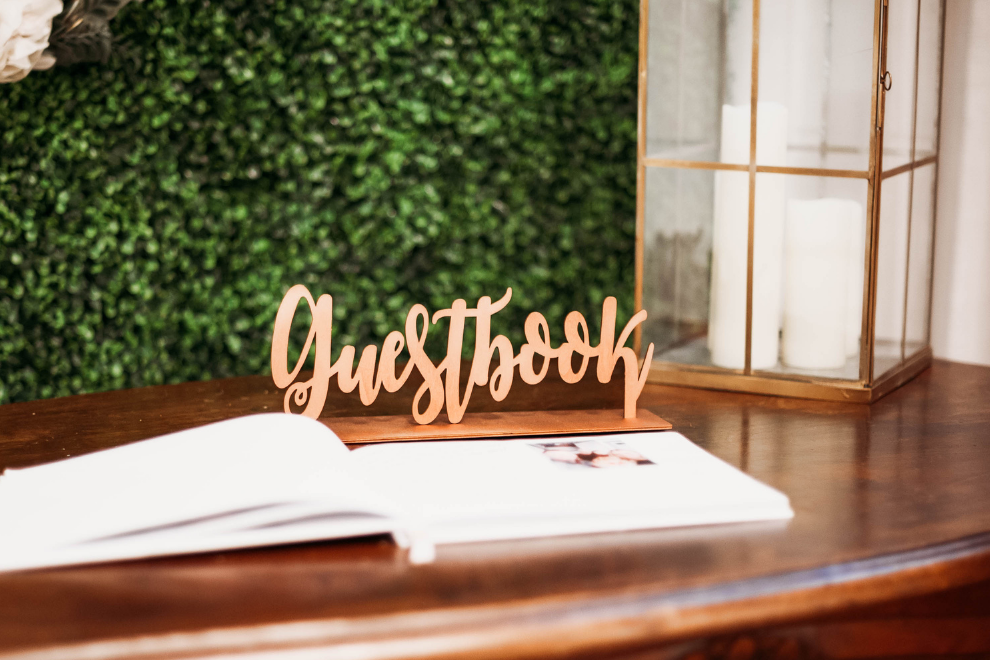 Wood Rose Gold Guestbook Sign