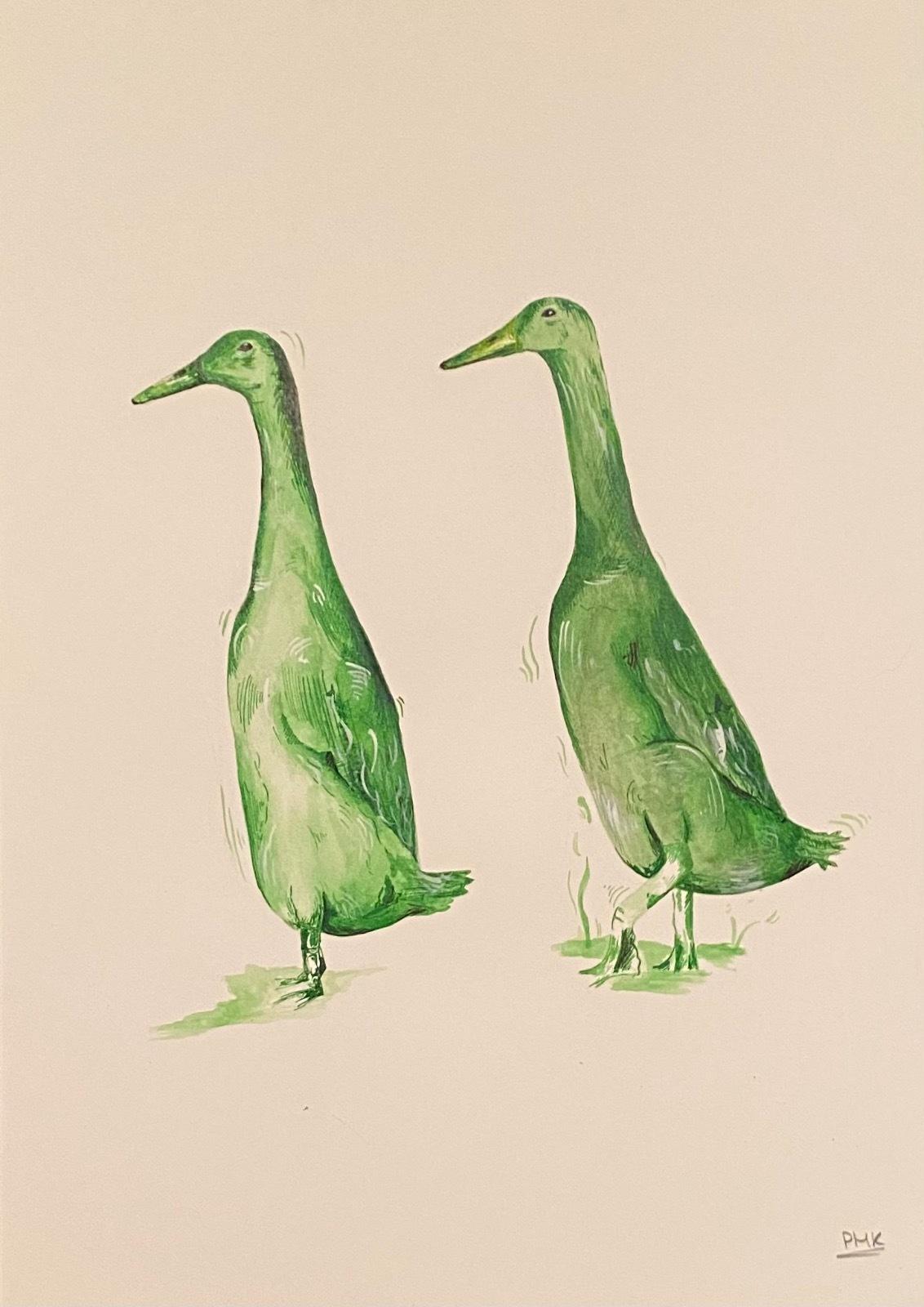 Indian Runner Ducks A3 Giclée Print