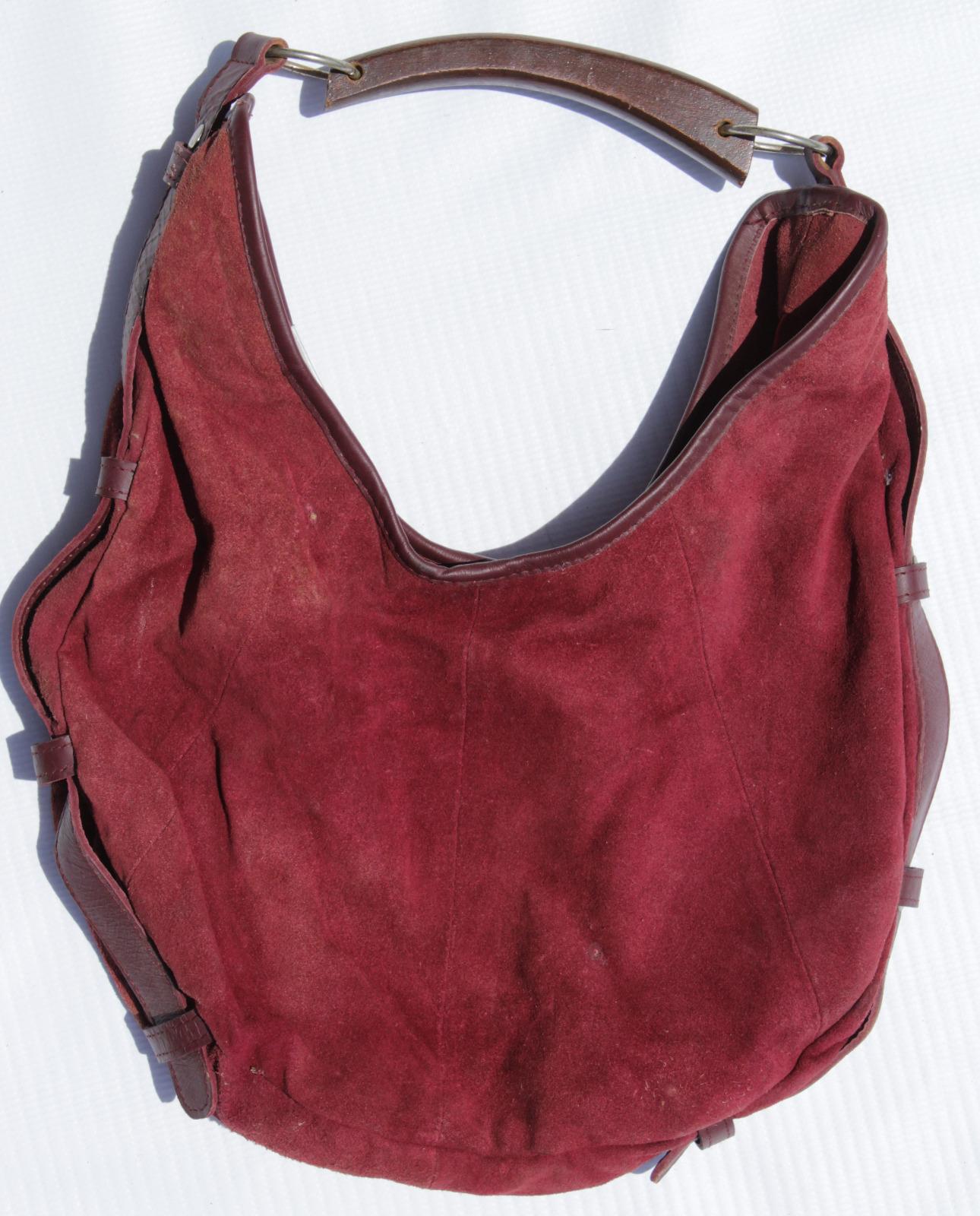 Burgundy Suede Handbag