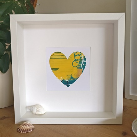 Selling: Abstract colour heart framed painting - 1 of 6