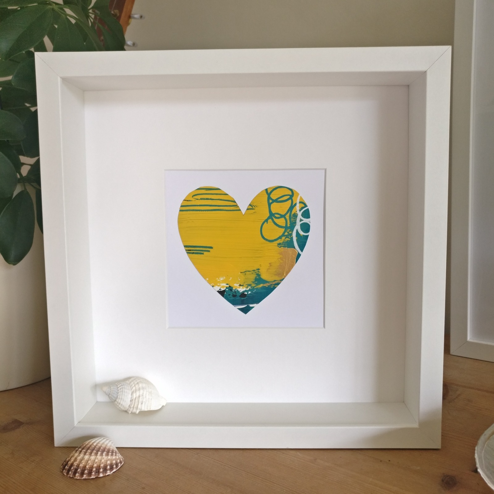 Abstract colour heart framed painting - 1 of 6