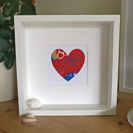 Selling: Abstract colour heart framed painting - 2 of 6