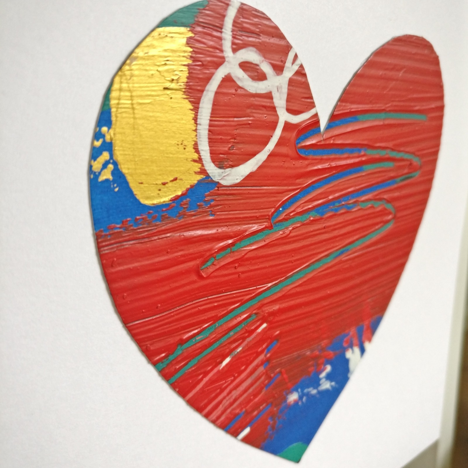 Abstract colour heart framed painting - 2 of 6