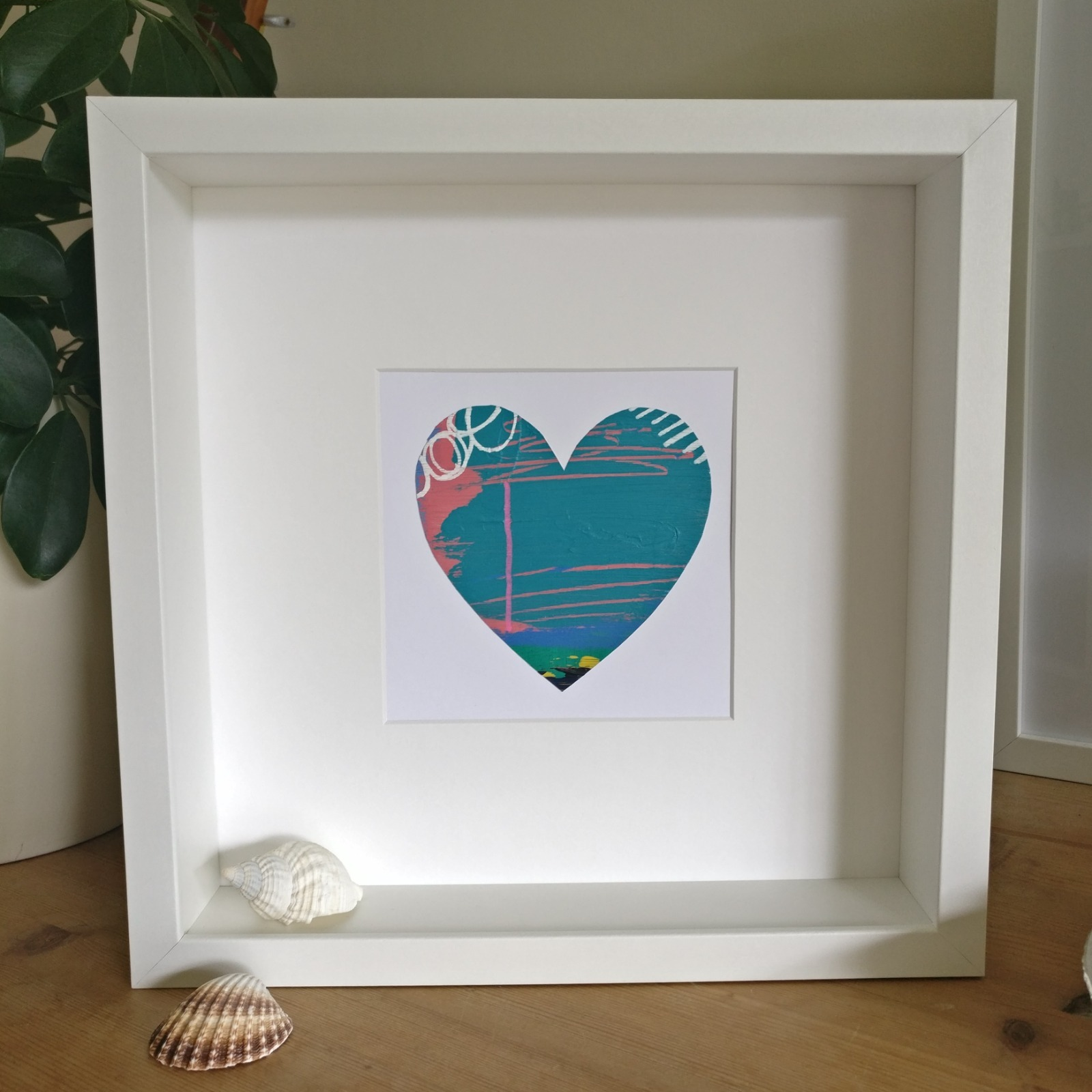 Abstract colour heart framed painting - 3 of 6