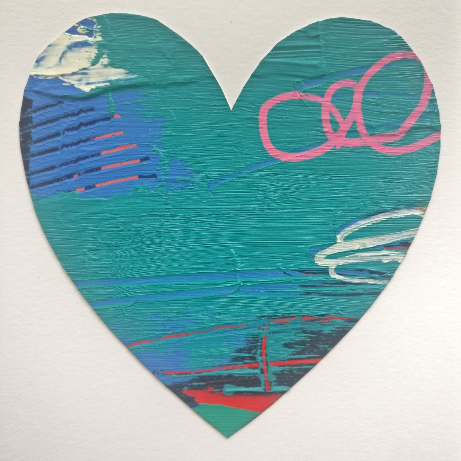 Abstract colour heart framed painting - 4 of 6