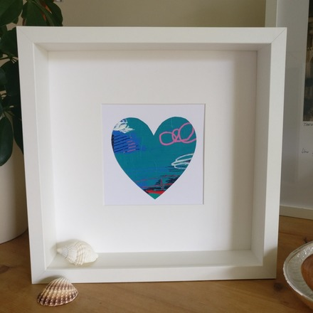 Selling: Abstract colour heart framed painting - 4 of 6