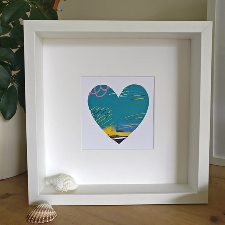 Selling: Abstract colour heart framed painting - 5 of 6