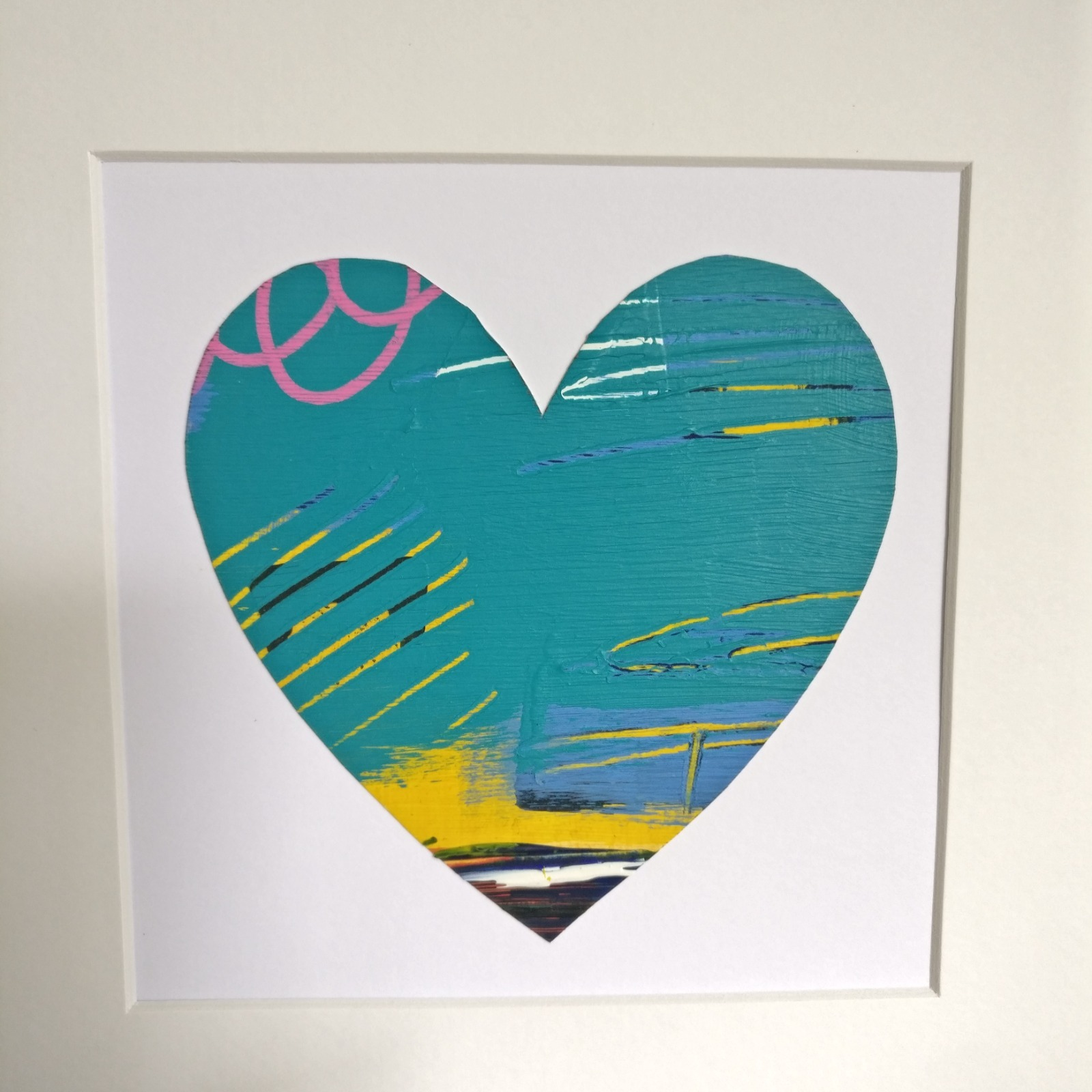 Abstract colour heart framed painting - 5 of 6