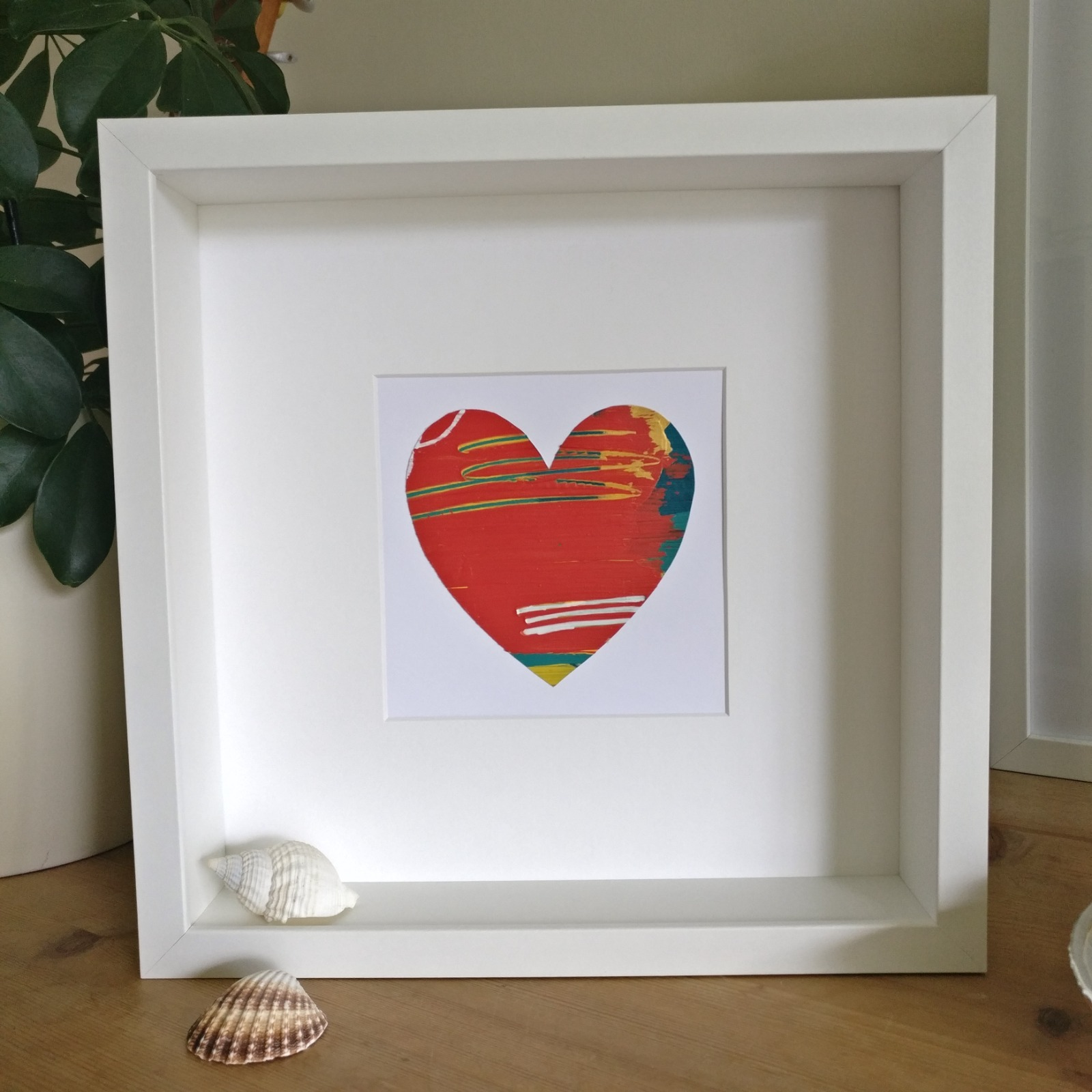 Abstract colour heart framed painting - 6 of 6