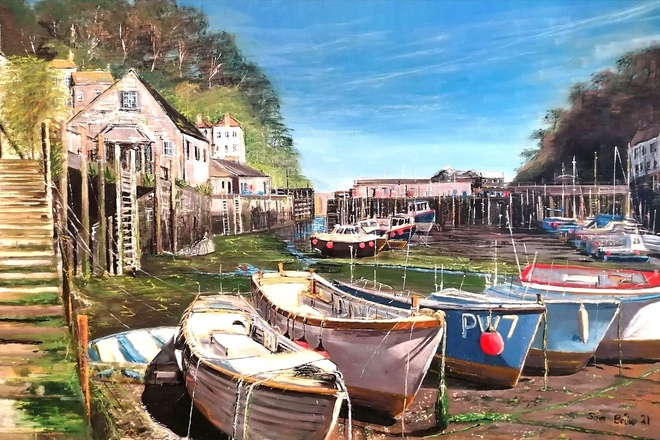 Selling: Polperro Harbour in the afternoon sun